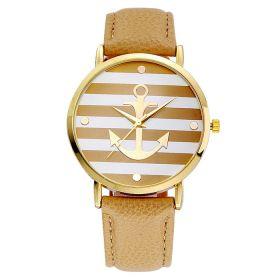 Dámské hodinky s kotvou krémové