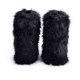 Kožešinové návleky na boty černé 40 cm