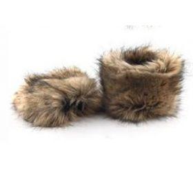 Kožešinové návleky na boty hnědé 15 cm