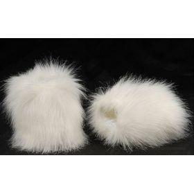 Kožešinové návleky na boty bílé 15 cm