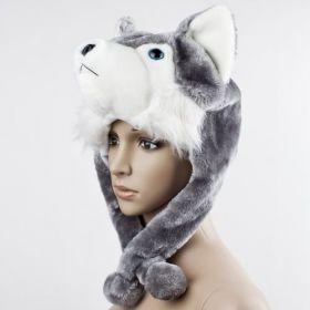 Krátka Plyšová čepice zvíře Vlk