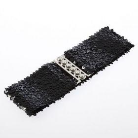 Módní pásek s flitry - černý