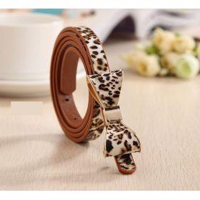 Dámský tenký pásek s mašlí leopard