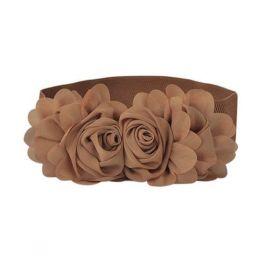 Dámský Elastický pásek s kytičkou hnědý