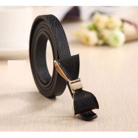 Dámský černý pásek tenký s mašlí