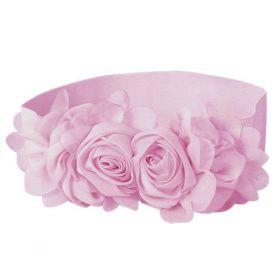 Dámský Elastický pásek s kytičkou růžový