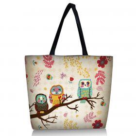 Huado nákupní a plážová taška - Sovy na stromě