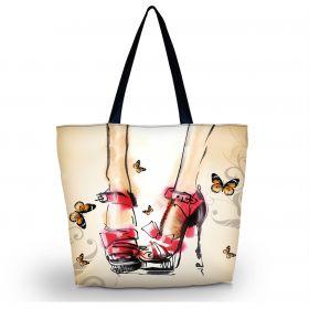Huado nákupní a plážová taška - Červené lodičky