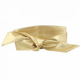 Dámský zlatý dlouhý pásek z umělé kůže
