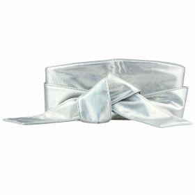 Dámský silver dlouhý pásek z umělé kůže