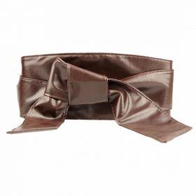 Dámský hnědý dlouhý pásek z umělé kůže dark
