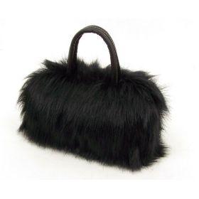 Kožešinová chlupatá mini kabelka černá