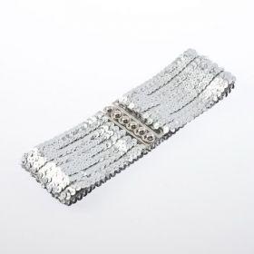Módní pásek s flitry stříbrný