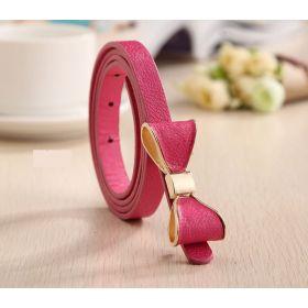 Dámský tenký pásek s mašlí růžový