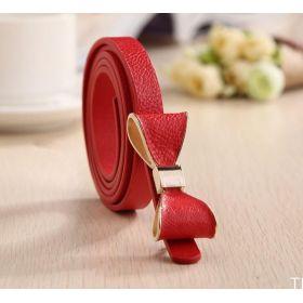 Dámský tenký pásek s mašlí červený