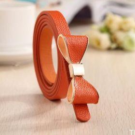 Dámský tenký pásek s mašlí oranžový