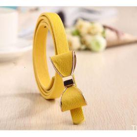 Dámský tenký pásek s mašlí žlutý