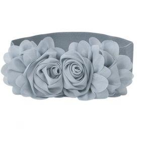 Dámský Elastický pásek s kytičkou šedý