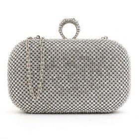 Diamond Společenská kabelka s kamínky stříbrná