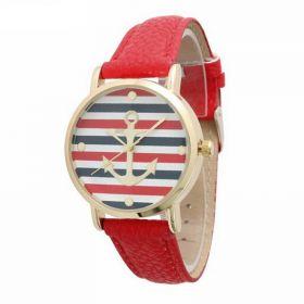 Dámské hodinky s kotvou červené