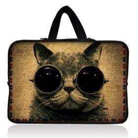"""Huado taška na notebook do 12.1"""" Kočka s brýlemi"""