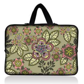 """Huado taška na notebook do 12.1"""" Retro zelené kvítí"""