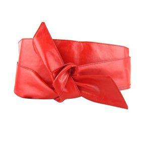 Dámský dlouhý pásek z umělé kůže červený