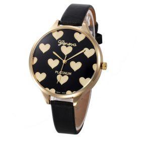 Geneva Dívčí hodinky se srdíčky černé