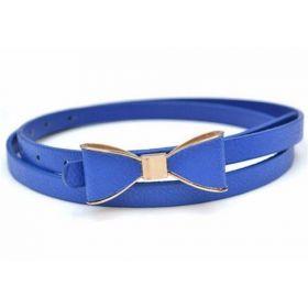 Dámský tenký pásek s mašlí modrý