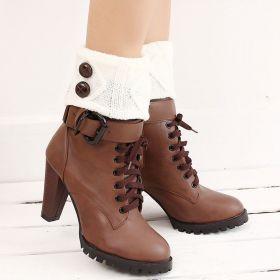 Pletené návleky do bot na bílé 15 cm
