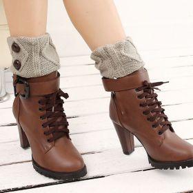 Pletené návleky do bot šedé 15 cm
