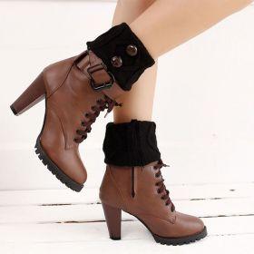 Pletené návleky do bot černé 15 cm