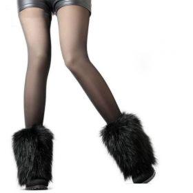Návleky na boty černé Kožešinové  15 cm