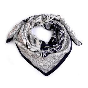 Dámský šátek s ornamenty Paisley 70 cm Černý