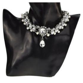 Stříbrný choker náhrdelník s perlami