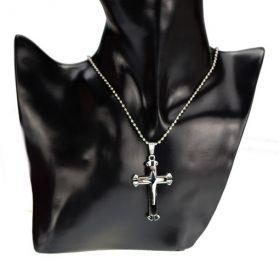 Přívěsek křížek Marcus černý s řetízkem