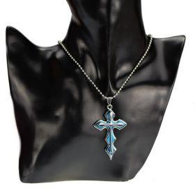 Přívěsek křížek Marcus modrý s řetízkem