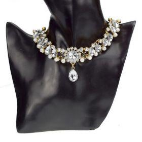 Zlatý choker náhrdelník s perlami