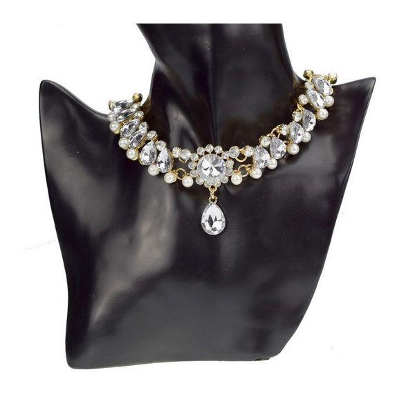bd6203a09 Zlatý choker náhrdelník s perlami - foxstar.cz