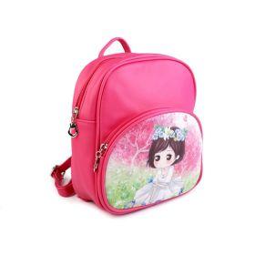 Dětský batoh Manga girl 23 cm Tmavě růžový