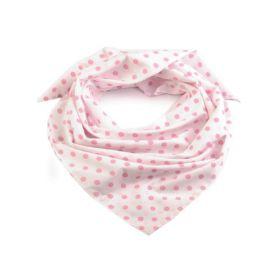 Dámský puntíkovany šátek 65 cm Bílý Pink
