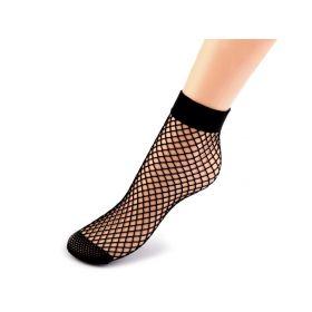Síťované ponožky krátké černé