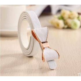Dámský tenký pásek s mašlí bílý