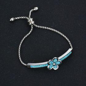 Náramek z chirurgické oceli Modrý květ