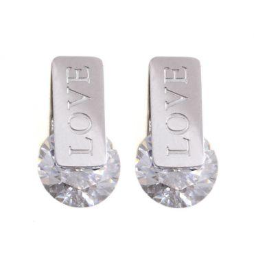 Náušnice s chirurgické oceli Love Crystals