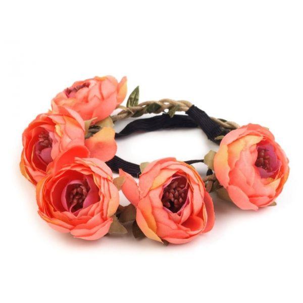 Pružná květinová čelenka do vlasů Růžová - foxstar.cz e514ec692c