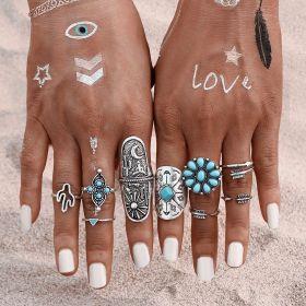 Sada prstenů Bohém style 9ks Tyrkys