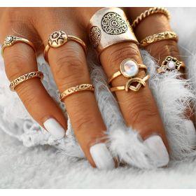 Sada prstenů Bohém style 9ks Antique