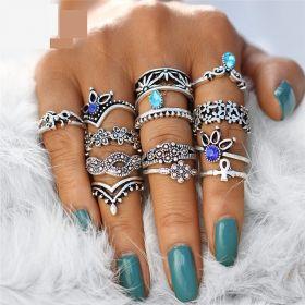 Sada prstenů Bohém style 13ks Infinity
