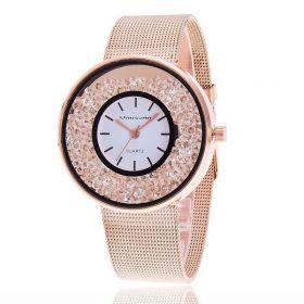 Svar Dámské kovové hodinky s kamínky Růžové